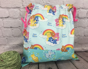 Bears with Rainbow,  Knitting Project Bag, Crochet Bag, Embroidery bag, Yarn Bag,  Project Bag, Sock knitting bag