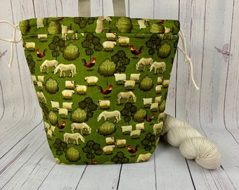 Sheep Folk Farm, Twisted Bucket bag, Knitting project bag, Crochet project bag,  Project Bag, Yarn bowl, Large Project bag