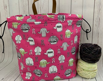 Pink Fair Isle Sweaters, XL  Project bag, Knitting bag, Crochet project bag,  Project Bag, Yarn bowl, Sweater bag