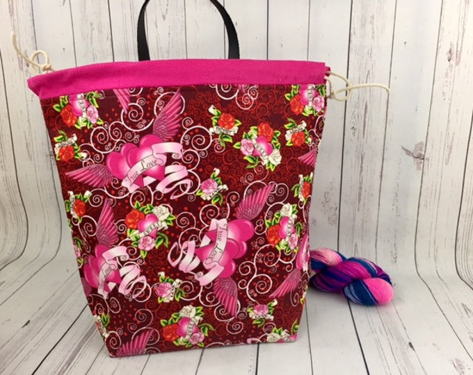 Tattoo True Love Bucket bag, Knitting project bag, Crochet project bag,  Project Bag, Yarn bowl, Large Project bag, Shawl knitting