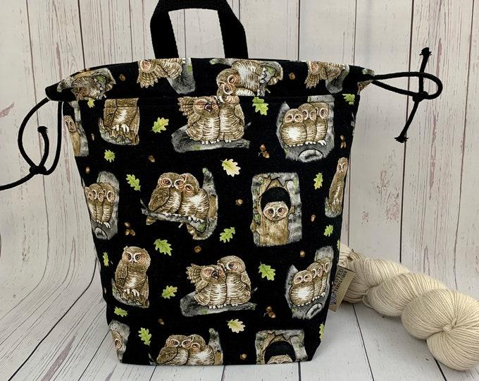 Owls, Twisted Bucket bag, Knitting project bag, Crochet project bag,  Project Bag, Yarn bowl, Large Project bag
