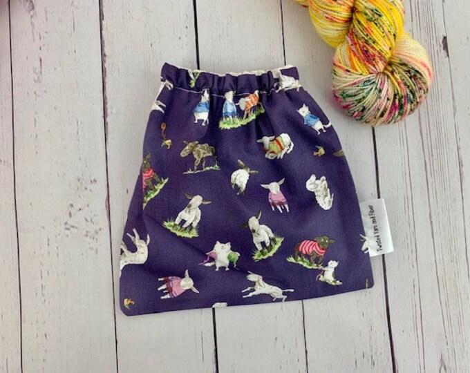 Sheep in Sweaters, Yarn Ball bag, Yarn Bowl, Yarn Holder, Yarn cake Bag, Holds Yarn Mini-Most Bulky