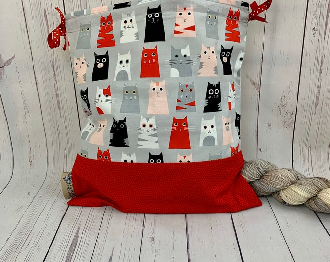 Cats, Knitting Project Bag, Crochet Project Bag, Yarn Bag, Fiber Project Bag, Sock knitting bag, Shawl projec