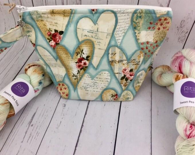 Vintage Valentine Collaboration Set in Blue- Knitting Bag/ 1 Skein Sock Yarn/ 1 Heart Stitch Marker
