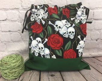 Skulls and Roses Knitting bag, Drawstring project bag, Shawl project bag, Yarn Bag,  Project Bag, Sock knitting bag