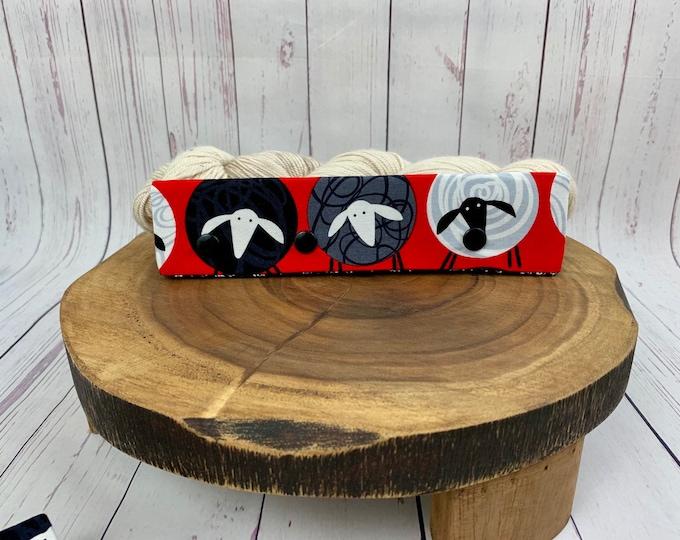 "Red Mod Sheep, Circular Needle Progress Holder,  6-8"" DPN Progress Holder for Knitting, Needle cozy"