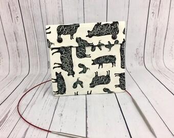 Sheep / Cow/ Pig,  Circular Knitting Needles Case or Knitting Notions Case, Crochet notions case, Accessories case, Circular Case