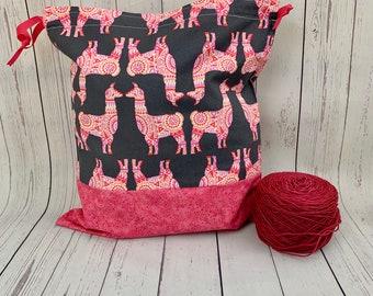 LLamas,  Knitting Project Bag, Crochet Project Bag, Yarn Bag, Fiber Project Bag, Sock knitting bag, Shawl projec