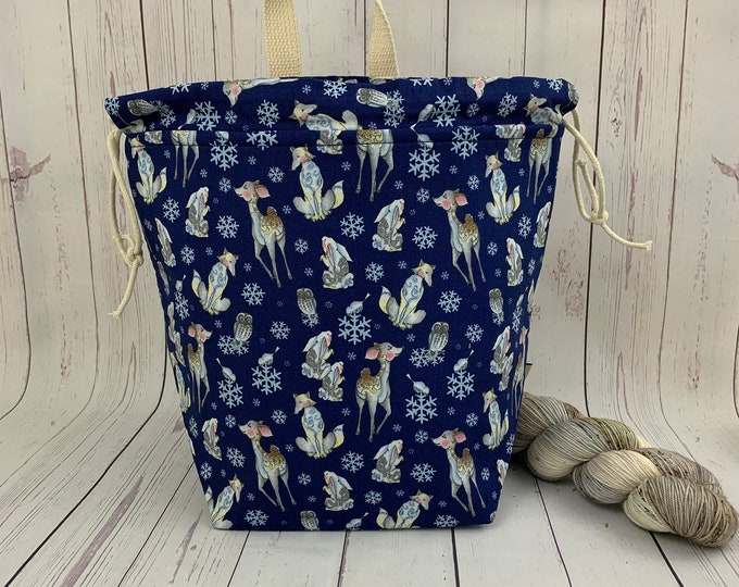 Winter Woodland Animals, Bucket bag, Knitting project bag, Crochet project bag,  Project Bag, Yarn bowl, Large Project bag