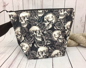 Skull and Roses bag, Knitting project bag, Crochet project bag,  Zipper Project Bag, Yarn bowl, Project Bag