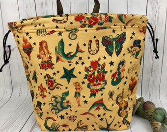 Old School Tattoo,  Shweater bag, XL  Project bag, Knitting bag, Crochet project bag,  Project Bag, Sweater knitting bag, Shawl Knitting bag