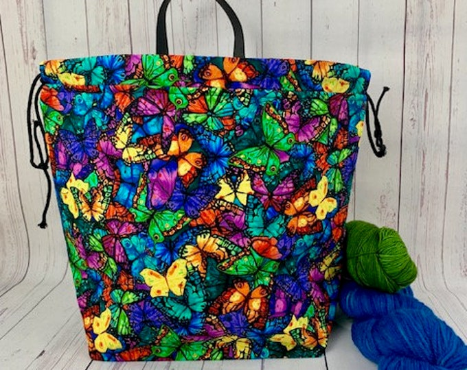Jewel Butterfly, Shweater bag, XL Project bag, Knitting bag,Crochet project bag,  Project Bag, Sweater knitting bag, Shawl Knitting bag