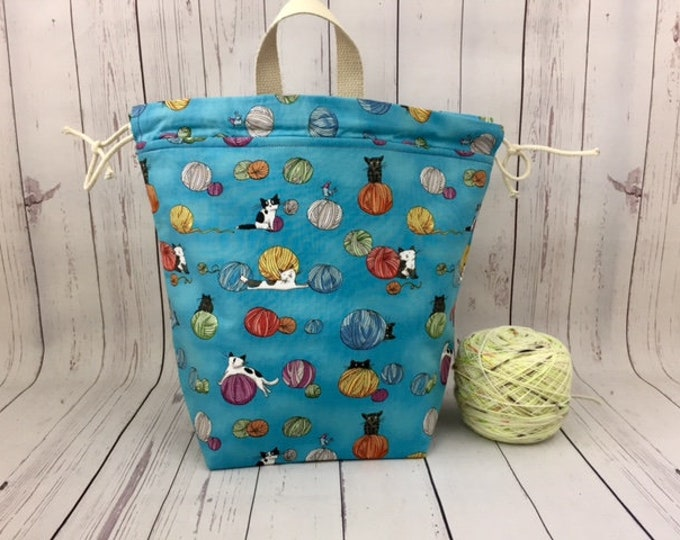 Cats and Yarn -Blue, Twisted Bucket bag, Knitting project bag, Crochet project bag,  Project Bag, Yarn bowl, Large Project bag