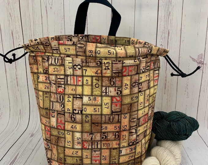 Urban Cargo Ruler Bag, Twisted Bucket bag, Knitting project bag, Crochet project bag,  Project Bag, Yarn bowl, Large Project bag