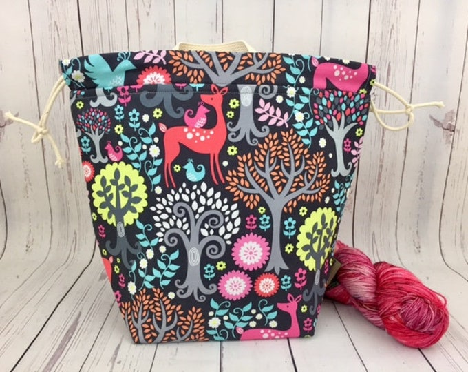 Fantasy Woods w/ Grey lining, Bucket bag, Knitting project bag, Crochet project bag,  Project Bag, Yarn bowl, Large Project bag