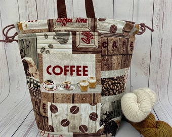 Coffee Time,Twisted Bucket bag, Knitting project bag, Crochet project bag,  Project Bag, Yarn bowl, Large Project bag