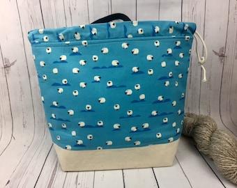 Blue Sheep Shweater bag, XL  Project bag, Knitting bag, Crochet project bag,  Project Bag, Yarn bowl