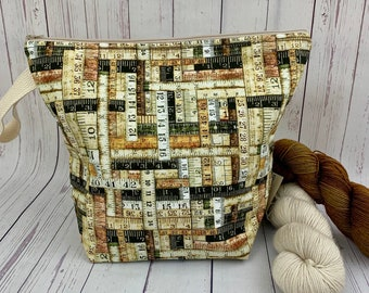 Natural Wood Ruler bag, Zipper Twisted Bucket bag, Knitting project bag, Crochet project bag,  Project Bag, Yarn bowl, Large Project bag