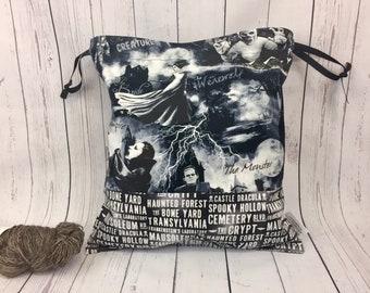 Horror Movie bag,  Knitting project Bag, Crochet Bag, Yarn Bag,  Project Bag, Sock knitting bag, Drawstring project bag