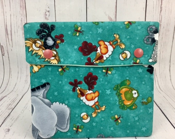 Animals and Friends, Circular Knitting Needles Case or Knitting Notions Case, Crochet notions case, Accessories case, Circular Case