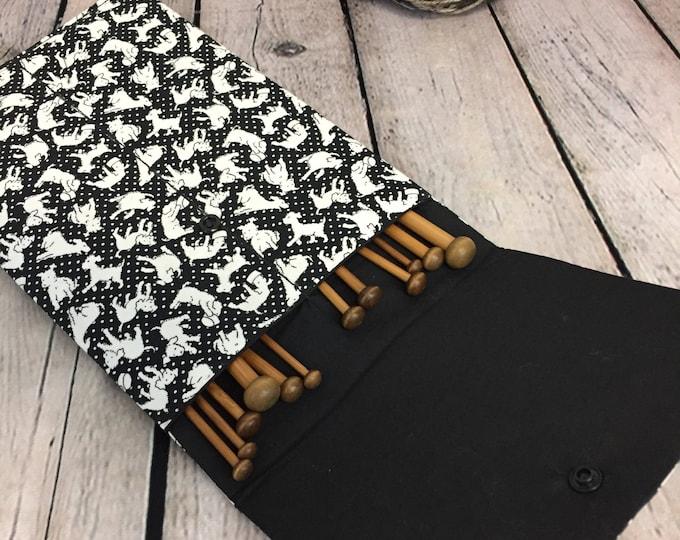 "10"" Knitting Needle Case - Dog print for straight Needles, Knitting case, Needle Case"