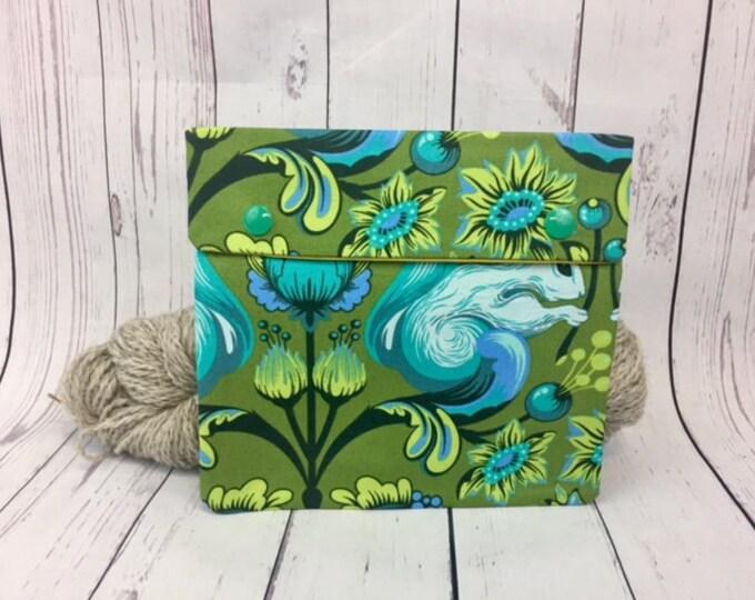 Green Squirrels ,  Circular Knitting Needles Case or Knitting Notions Case, Crochet notions case, Accessories case, Circular Case