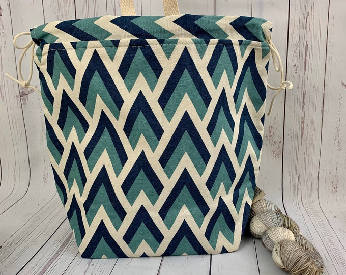 Chevron Mountains, Twisted Work Bag, Large Canvas project bag w/ full length pocket, Shawl /Sweater Knitting, Crochet Project, Needle