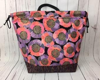 Purple Floral Shweater bag, XL  Project bag, Knitting bag, Crochet project bag,  Project Bag, Yarn bowl