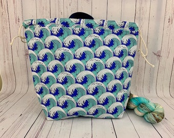 Sea Waves, Shweater bag, XL Project bag, Knitting bag, Crochet project bag,  Project Bag, Sweater knitting bag, Shawl Knitting bag