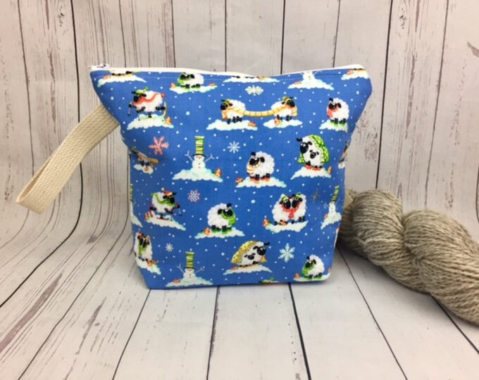 Snow Sheep, Knitting project bag, Crochet project bag,  Zipper Project Bag, Yarn bowl, Sock Knitting bag