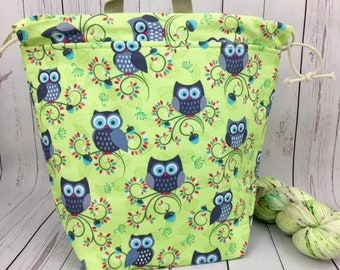 Owls in Green, Bucket bag, Knitting project bag, Crochet project bag,  Project Bag, Yarn bowl, Large Project bag