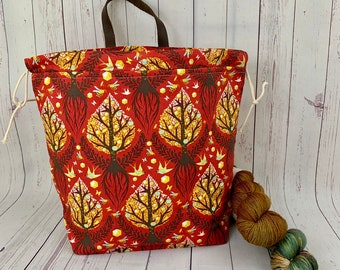 Autumn  Roots, Shweater bag, XL  Project bag, Knitting bag, Crochet project bag,  Project Bag, Sweater knitting bag, Shawl Knitting bag
