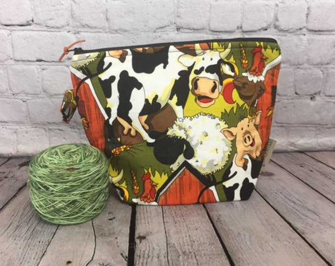 Autumn Farm Print w/ Full length pocket, Knitting project bag, Crochet project bag,  Zipper Project Bag, Yarn bowl