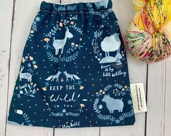 Wild at Heart, Yarn Ball bag, Yarn Bowl, Yarn Holder, Yarn cake Bag, Holds Yarn Mini-Most Bulky