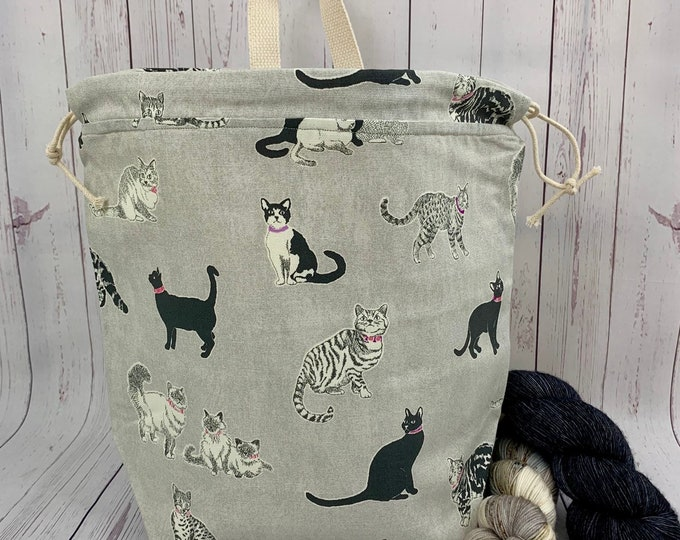 House Cats, Twisted Work Bag, Large Canvas project bag w/ full length pocket, Shawl /Sweater Knitting, Crochet Project, Needle