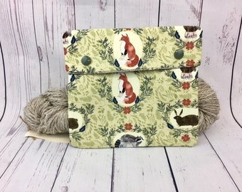 Woodland Animals ,  Circular Knitting Needles Case or Knitting Notions Case, Crochet notions case, Accessories case, Circular Case