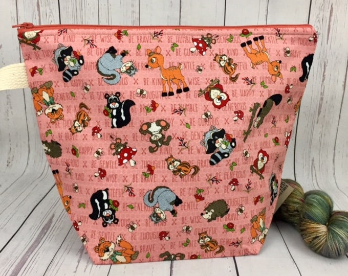 Woodland Animals -Zipper Top, Bucket bag, Knitting project bag, Crochet project bag,  Project Bag, Yarn bowl, Large Project bag