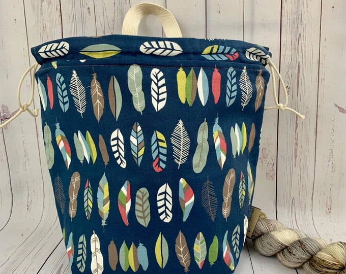 Feathers , Twisted Work Bag, Large Canvas project bag w/ full length pocket, Shawl /Sweater Knitting, Crochet Project, Needle