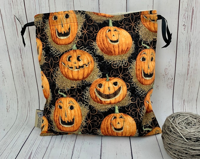 Pumpkin Jack O Lantern,  Knitting Project Bag, Crochet Project Bag, Yarn Bag, Fiber Project Bag, Sock knitting bag, Shawl projec