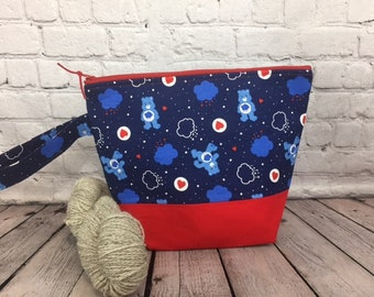 Grumpy Bear w/ Full length pocket, Knitting project bag, Crochet project bag,  Zipper Project Bag, Yarn bowl