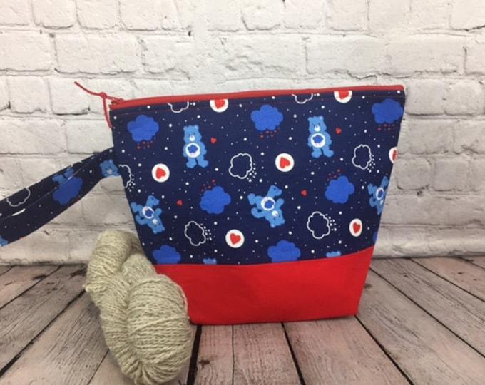 Grumpy Bear w/ Full length pocket, Knitting project bag, Crochet project bag,  Zipper Project Bag, Yarn bowl