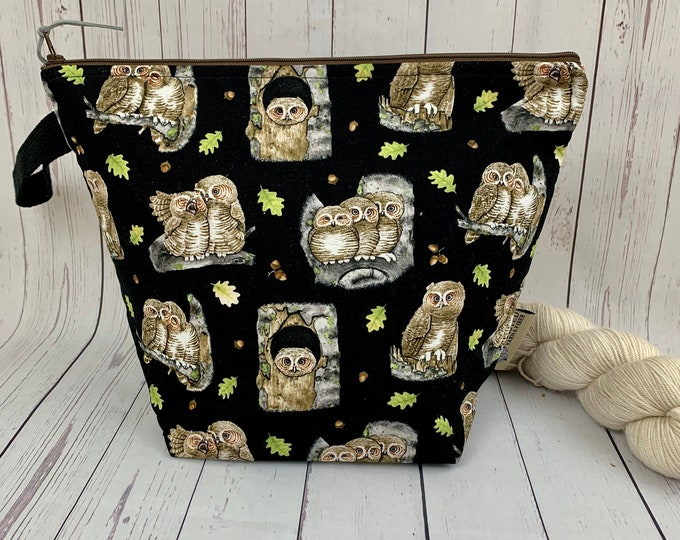 Owls, Zipper Twisted Bucket bag, Knitting project bag, Crochet project bag,  Project Bag, Yarn bowl, Large Project bag