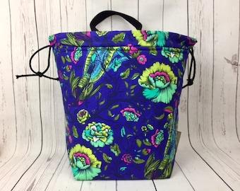 Birds in Flight Bucket bag, Knitting project bag, Crochet project bag,  Project Bag, Yarn bowl