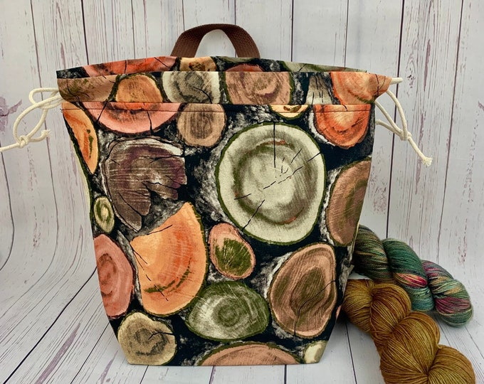 Rose Wood, Twisted Bucket bag, Knitting project bag, Crochet project bag,  Project Bag, Yarn bowl, Large Project bag