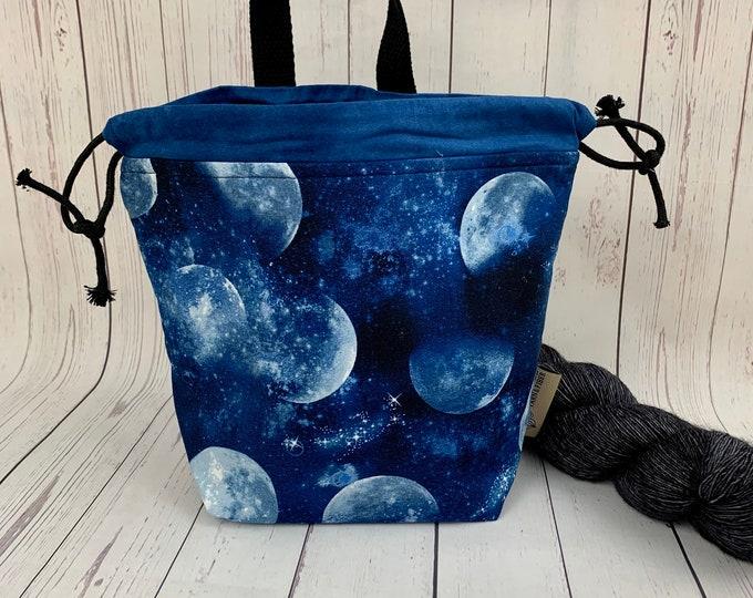 Full Moon Tonight , Shocks (Socks to Shawl Bag), Knitting project bag, Crochet project bag, Shawl knitting bag, Sock Knitting bag