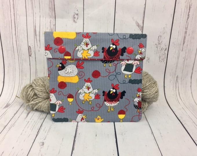 Knitting Chickens,  Circular Knitting Needles Case or Knitting Notions Case, Crochet notions case, Accessories case, Circular Case