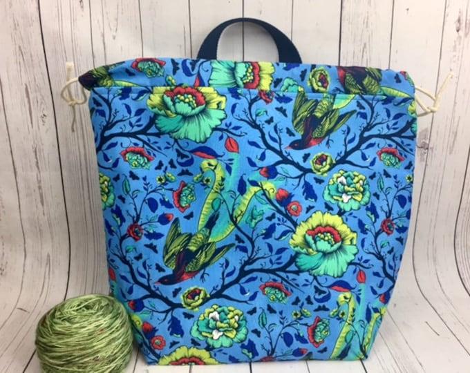 Birds in Flight  Shweater bag, XL  Project bag, Knitting bag, Crochet project bag,  Project Bag, Yarn bowl