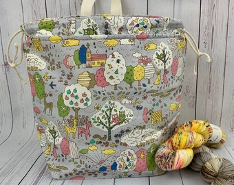 Dreamland , Twisted Work Bag, Large Canvas project bag w/ full length pocket, Shawl /Sweater Knitting, Crochet Project, Needle