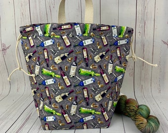 Wine, Bucket bag, Knitting project bag, Crochet project bag,  Project Bag, Yarn bowl, Large Project bag