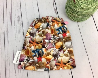 Seashells, Yarn Ball bag, Yarn Bowl, Yarn Holder, Yarn Cozy